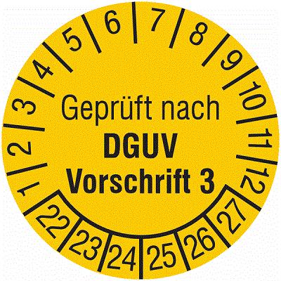 Plakette Geprüft nach DGUV Vorschrift 3