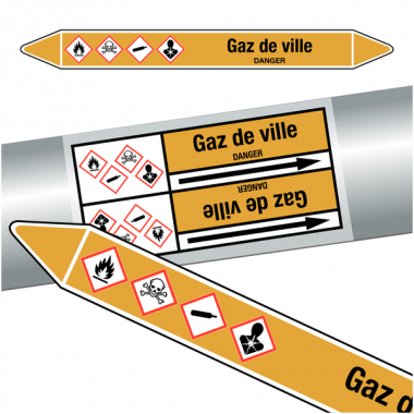"Marqueurs de tuyauteries CLP ""Gaz de ville"" (Gaz)"