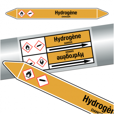 "Marqueurs de tuyauteries CLP ""Hydrogène"" (Gaz)"