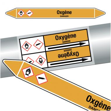 "Marqueurs de tuyauteries CLP ""Oxygène"" (Gaz)"