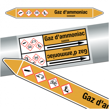 "Marqueurs de tuyauteries CLP ""Gaz d'ammoniac""  (Gaz)"
