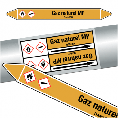 "Marqueurs de tuyauteries CLP ""Gaz naturel MP"" (Gaz)"
