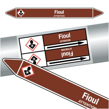 "Marqueurs de tuyauteries CLP ""Fioul"" (Liquides inflammables)"
