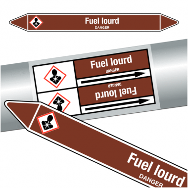 "Marqueurs de tuyauteries CLP ""Fuel lourd"" (Liquides inflammables)"