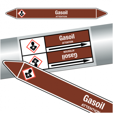 "Marqueurs de tuyauteries CLP ""Gasoil"" (Liquides inflammables)"
