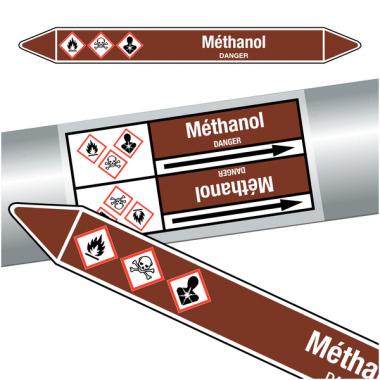 """Marqueurs de tuyauteries CLP """"méthanol"""" (Liquides inflammables)"""