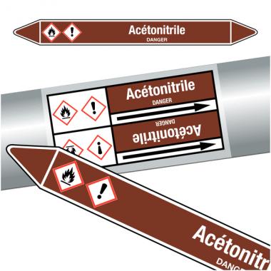 """Marqueurs de tuyauteries CLP """"Acétonitrile"""" (Liquides inflammables)"""