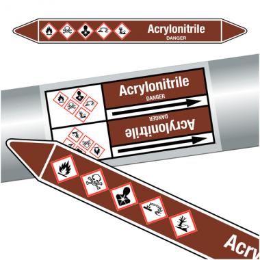 """Marqueurs de tuyauteries CLP """"Acrylonitrile"""" (Liquides inflammables)"""