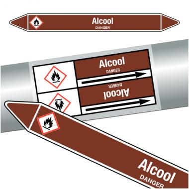 "Marqueurs de tuyauteries CLP ""Alcool"" (Liquides inflammables)"