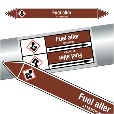 "Marqueurs de tuyauteries CLP ""Fuel aller"" (Liquides inflammables)"