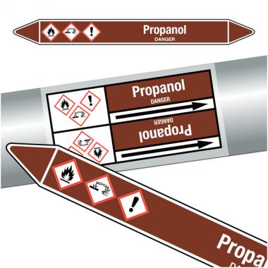 "Marqueurs de tuyauteries CLP ""Propanol"" (Liquides inflammables)"