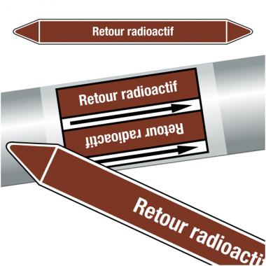"""Marqueurs de tuyauteries CLP """"Retour radiocatif"""" (Liquides inflammables)"""