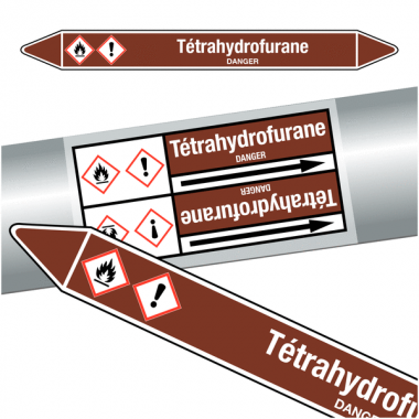 "Marqueurs de tuyauteries CLP ""Tétrahydrofurane"" (Liquides inflammables)"