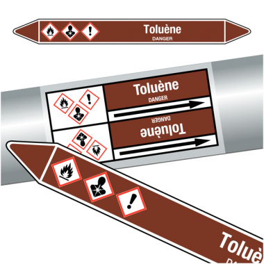 "Marqueurs de tuyauteries CLP ""Toluène"" (Liquides inflammables)"