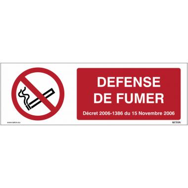 Signalétique Interdiction de fumer avec Décret