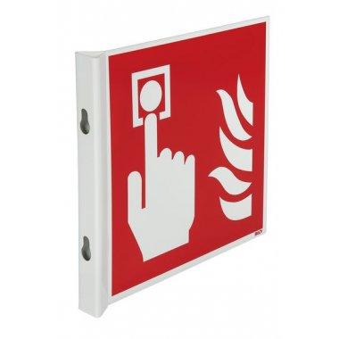Panneaux en drapeau et tridimensionnels NF EN ISO 7010 Point d'alarme incendie