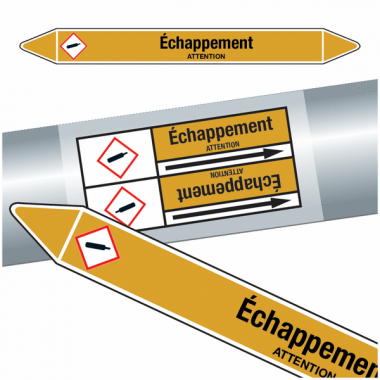 """Marqueurs de tuyauteries CLP """"Echappement"""" (Gaz)"""