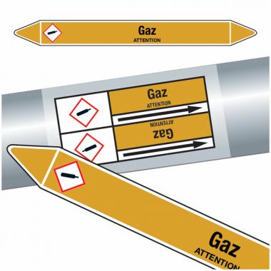 "Marqueurs de tuyauteries CLP ""Gaz"" (Gaz)"