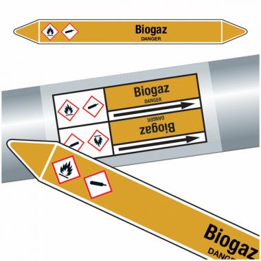 """Marqueurs de tuyauteries CLP """"Biogaz"""" (Gaz)"""