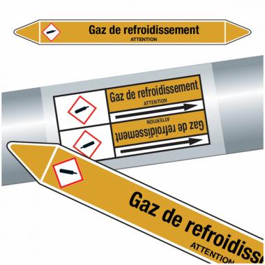 """Marqueurs de tuyauteries CLP """"Gaz de refroidissement"""" (Gaz)"""