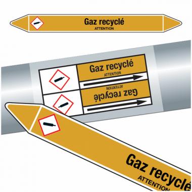 "Marqueurs de tuyauteries CLP ""Gaz recyclé"" (Gaz)"