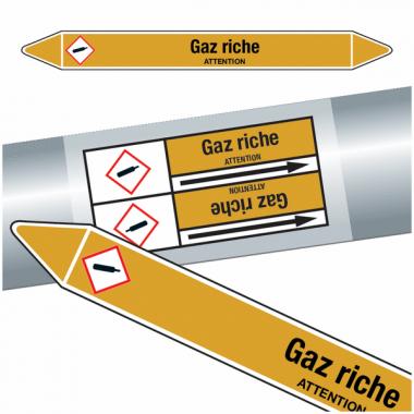 "Marqueurs de tuyauteries CLP ""Gaz riche"" (Gaz)"