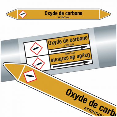 "Marqueurs de tuyauteries CLP ""Oxyde de carbone"" (Gaz)"