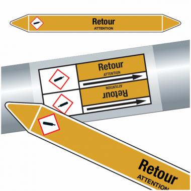 """Marqueurs de tuyauteries CLP """"Retour"""" (Gaz)"""