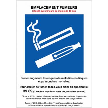 Panneaux et autocollants duos avec décrets - EMPLACEMENT FUMEURS