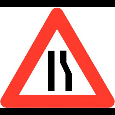 """Panneaux de circulation """"Chaussée rétrécie par la droite"""""""