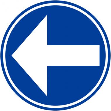 """Panneaux de circulation anti-graffiti Premium """"Obligation de tourner à gauche avant le panneau"""""""