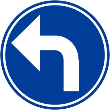 """Panneaux de circulation """"Direction obligatoire à la prochaine intersection: à gauche"""""""