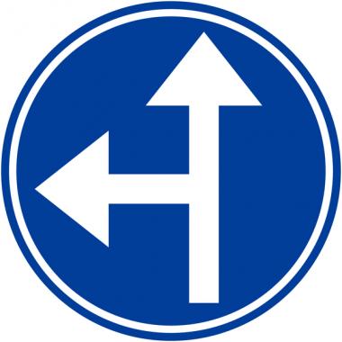"""Panneaux de circulation """"Directions obligatoires à la prochaine intersection: tout droit ou à gauche"""""""