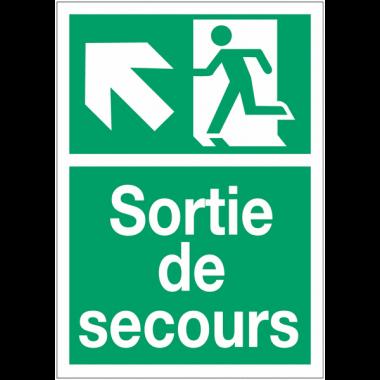 """Panneaux d'évacuation A4 et A3 """"Homme qui monte, flèche à gauche"""""""