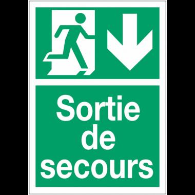 """Panneaux d'évacuation A4 et A3 """"Homme qui court, flèche en bas"""""""