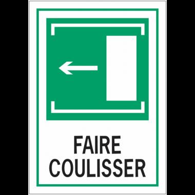 """Panneaux d'évacuation A4 """"Faire coulisser, flèche à gauche"""""""