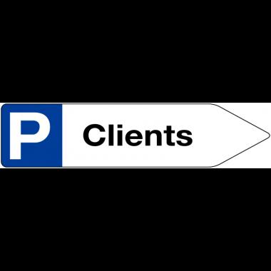 """Panneaux à flèche directionnelle """"Places de parking - Clients"""""""
