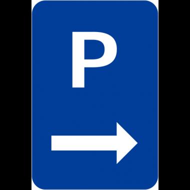 Panneaux de parking bleu en aluminium avec flèche à droite