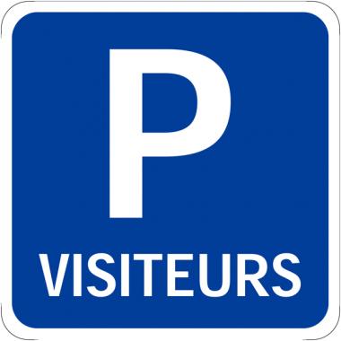 """Panneaux de signalisation carré """"Place de parking - Visiteurs"""""""