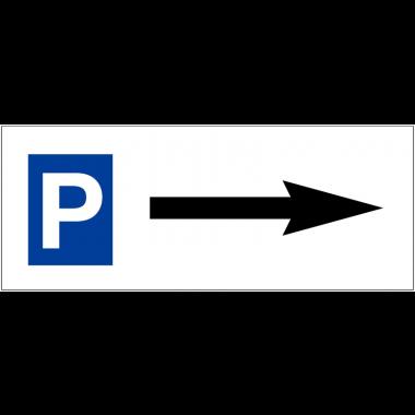 """Panneau de parking en aluminium """"Places de parking - Flèche à droite"""""""