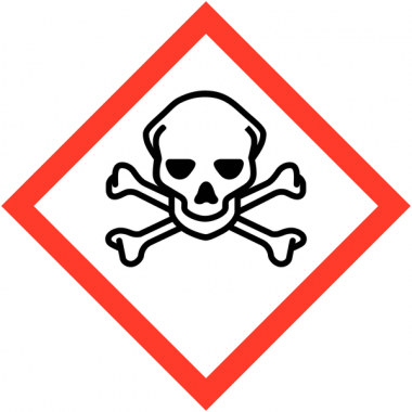 """Etiquettes de produits dangereux sur carte """"Matières toxiques"""""""