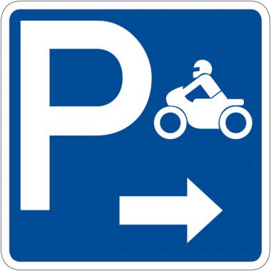 """Panneau de signalisation """"Parking motos flèche à droite"""" rétro-réfléchissant"""