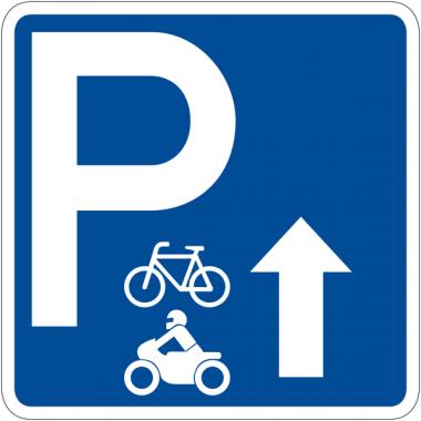 """Panneau de signalisation """"Parking vélos motos flèche en haut"""" rétro-réfléchissant"""