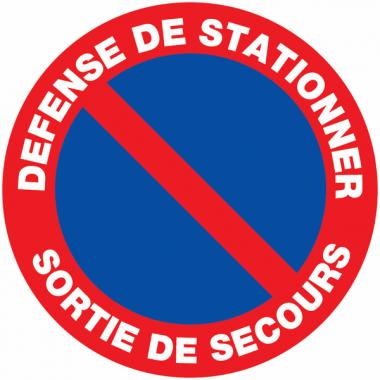 """Panneaux de circulation routière """"Stationnement interdit - Défense de stationner sortie de secours"""""""