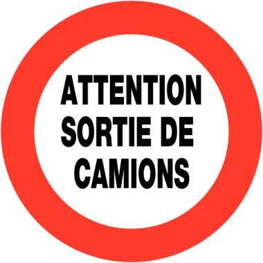 """Panneaux de circulation routière """"Circulation interdite - Attention sortie de camions"""""""