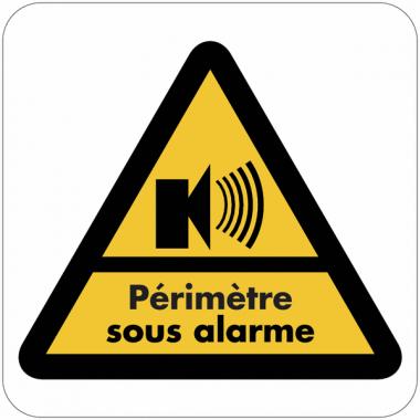 """Autocollant dissuasif en vinyle """"Bâtiment sous alarme - Périmètre sous alarme"""""""