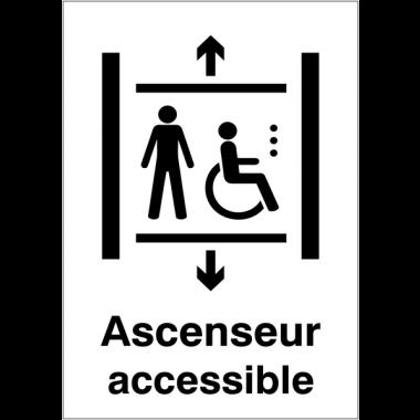 """Panneaux d'information du public """"Ascenseur accessible aux fauteuils roulants"""""""