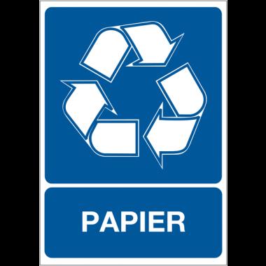 """Panneau A4 en polyester laminé """"Tri sélectif des déchets - Papier"""""""