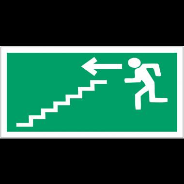 """Panneaux d'évacuation haute résistance """"Homme qui descend l'escalier, flèche à gauche"""""""