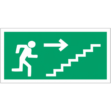 """Panneaux d'évacuation haute résistance """"Homme qui monte l'escalier, flèche à droite"""""""